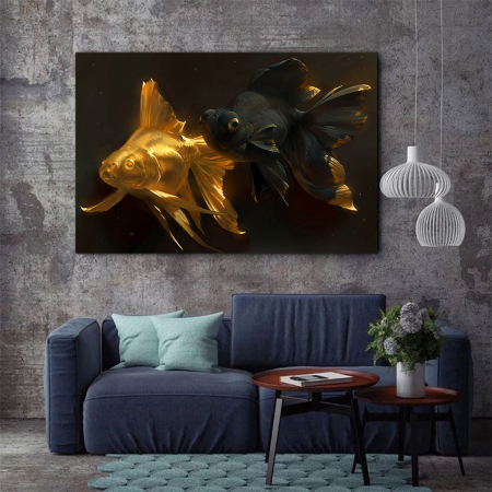 Tablou Canvas - Black & Gold Fish2