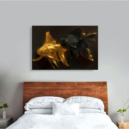 Tablou Canvas - Black & Gold Fish3