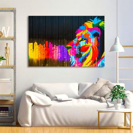 Tablou Canvas - Graffiti lion [1]