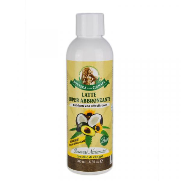Lapte de corp organic pentru bronzat, cu ulei de cocos si canepa, 200ml 0
