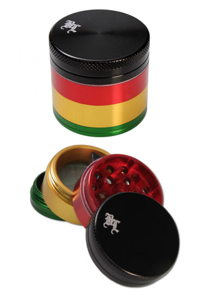 Grinder 'Black Leaf' Rasta, 4 parti, Ø39mm 0