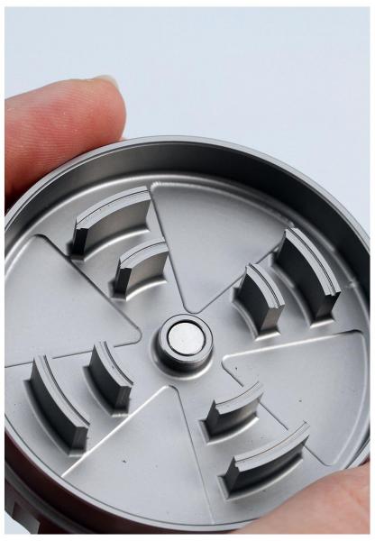 Grinder 'Black Leaf' Startrails, 2 Parti, Argintiu, Ø62mm 1