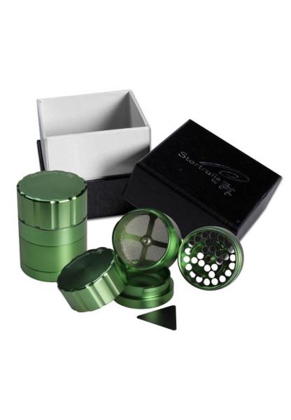 Grinder 'Black Leaf' Startrails, Verde, 4 parti, Ø42mm 0