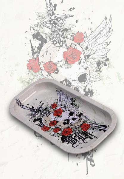 Tava de Rulat 'Black Leaf', Skull & Roses 0