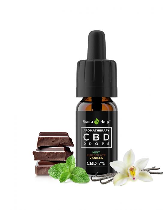 Ulei CBD 7%, 700mg, Aromaterapie Ciocolata, Menta si Vanilie, PharmaHemp, 10ml 0