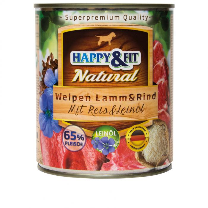 HAPPY&FIT NATURAL Junior Carne de Miel&Carne de Vita cu Orez si Uleiuri din Seminte de In 800G [0]