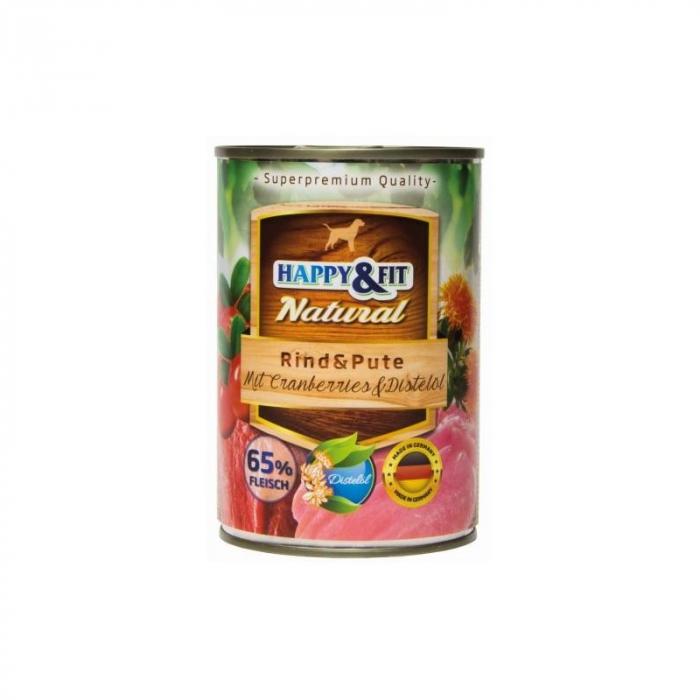 HAPPY&FIT NATURAL Adult Carne de Vita&Curcan cu Afine&Ulei de Sofranel 400G [0]