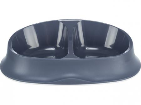 Trixie Castron Plastic Dublu 2x0.25l/10x12cm/27x7x18cm albastru 24966 [1]