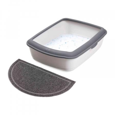 Trixie Covoras in fata litierei, antiderapant, semi-cerc, PVC, 59 × 35 cm, anthracit 40386 [0]
