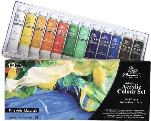 Set 12 culori acrilice Phoenix 12x12 ml [0]