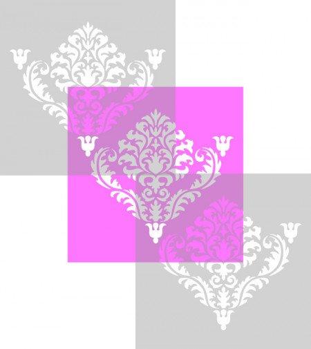 Sablon Refolosibil Repetitiv Flower Damask 590*590mm - SP84 [4]