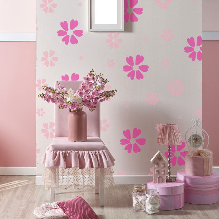 Set 5 Șabloane decorative pentru pictat pereți - Model Floricele [0]