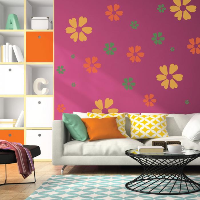 Set 5 Șabloane decorative pentru pictat pereți - Model Floricele [1]