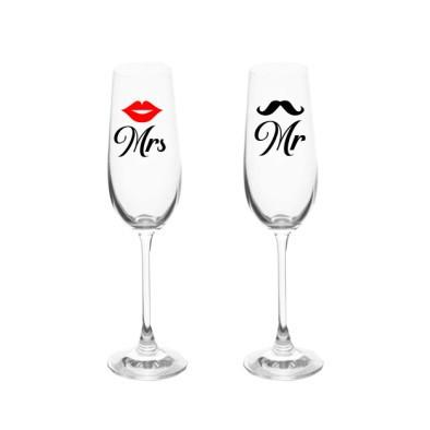 Set 2 stickere Mrs + buze rosii, Mr + mustata neagra [0]