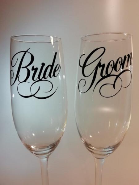 Set 2 stickere pahare Nunta Groom - Bride [0]