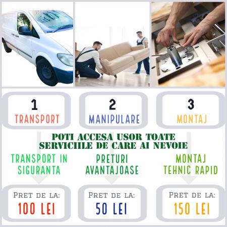 Servicii transport, manipulare si montaj mobila