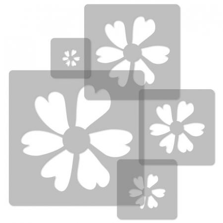 Set 5 Șabloane decorative pentru pictat pereți - Model Floricele [2]