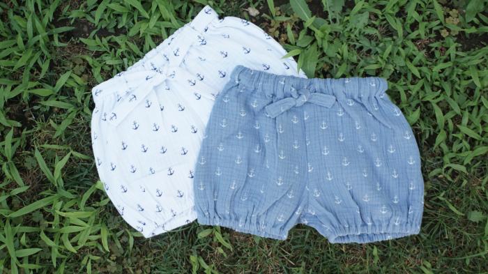 Pantaloni scurți din muselină albi 1