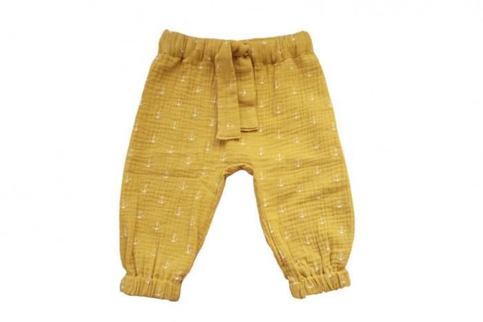 Pantaloni lungi din muselină mustar 0