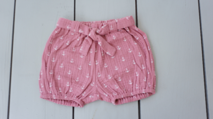 Pantaloni scurți din muselină roz 0