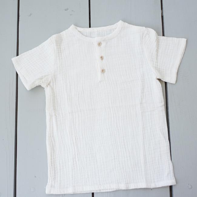 Tricou din muselină albă cu nasturi de lemn 0
