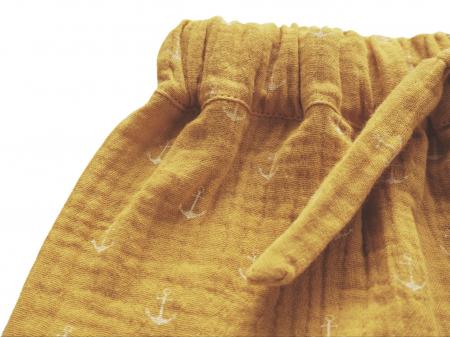 Pantaloni lungi din muselină mustar3