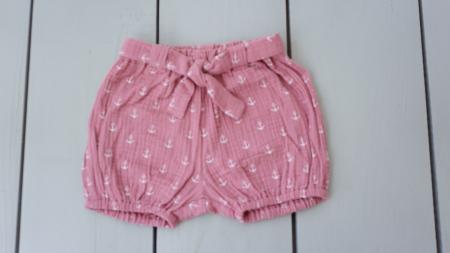 Pantaloni scurți din muselină roz0
