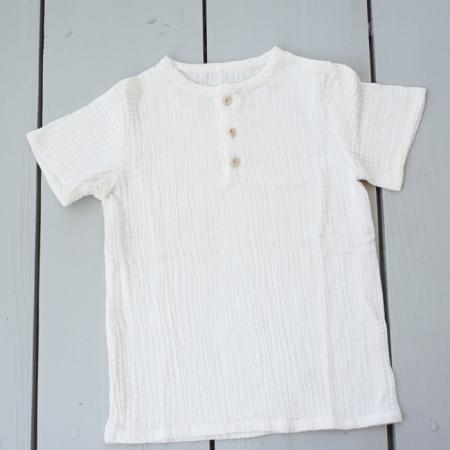 Tricou din muselină albă cu nasturi de lemn0