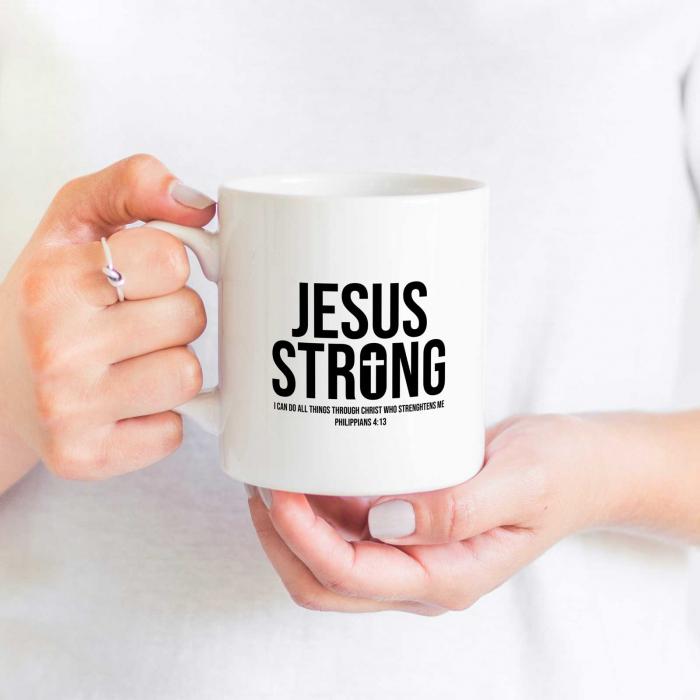 Cană cu mesaj creștin Jesus Strong [2]