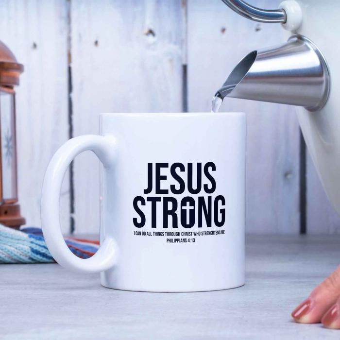 Cană cu mesaj creștin Jesus Strong [3]