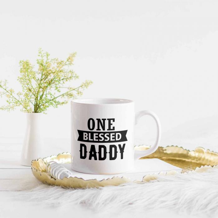 Cană cu mesaj creștin pentru tați - One Blessed Daddy [2]