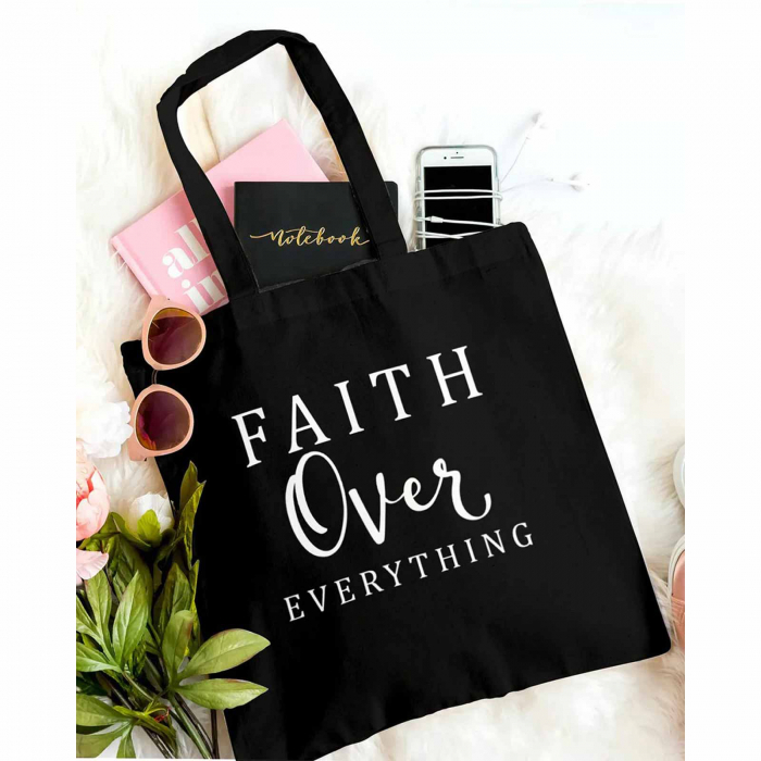 Tote Bag cu mesaj creștin Faith Over Everything [0]
