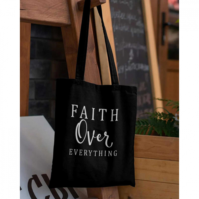 Tote Bag cu mesaj creștin Faith Over Everything [2]