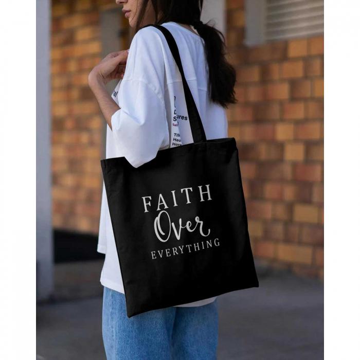 Tote Bag cu mesaj creștin Faith Over Everything [4]