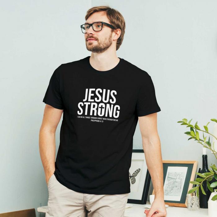 Tricou cu mesaj creștin Jesus Strong [1]