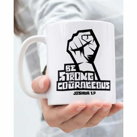 Cana ceramica Be strong and courageous [2]