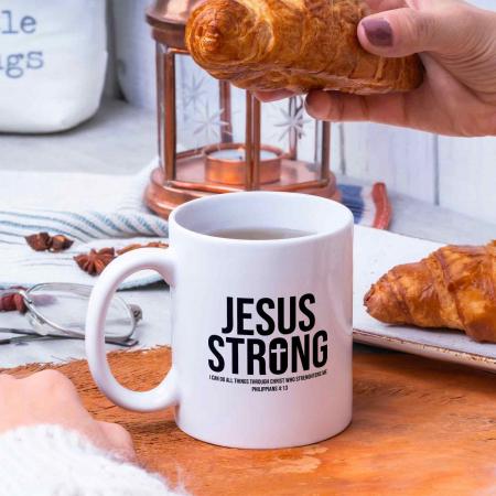 Cană cu mesaj creștin Jesus Strong [1]