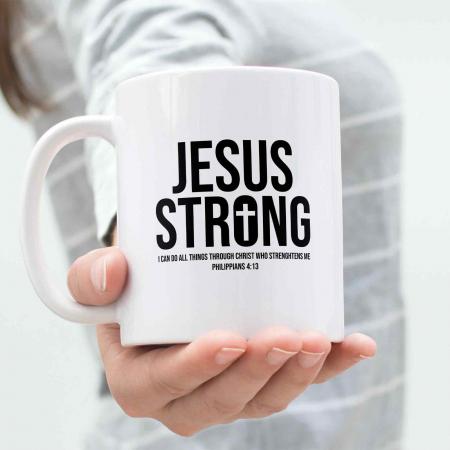 Cană cu mesaj creștin Jesus Strong [4]