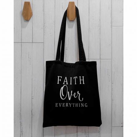 Tote Bag cu mesaj creștin Faith Over Everything [1]