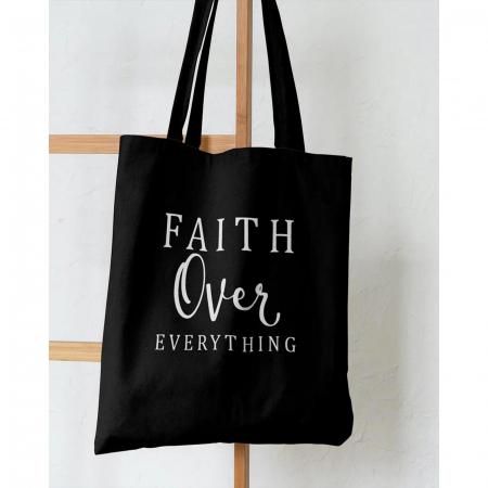 Tote Bag cu mesaj creștin Faith Over Everything [3]