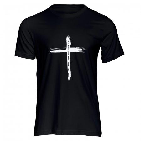 Tricou cu mesaj creștin Believe - Cross [0]