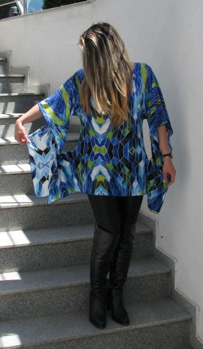 Bluza Bella, albastru cu verde [1]