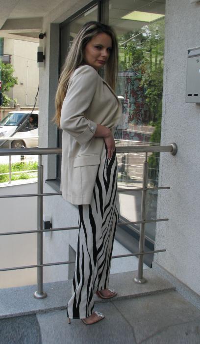 Pantalon Veronica, bej cu negru [1]