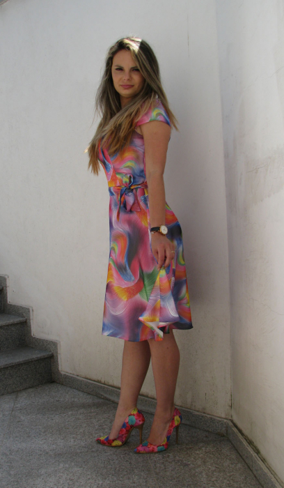 Rochie Cora, roz cu bleu [2]