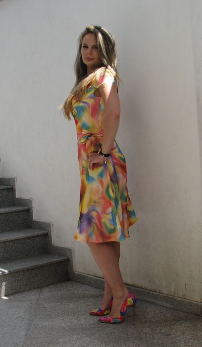 Rochie Cora, galben cu roz [2]