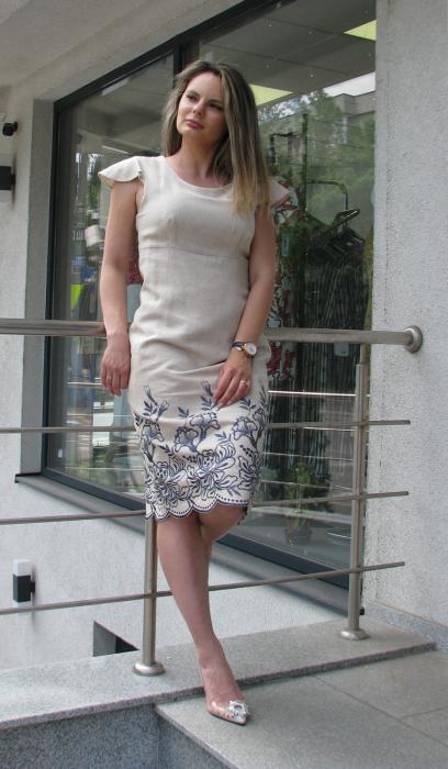 Rochie Iulia, broderie gri-petrol [3]