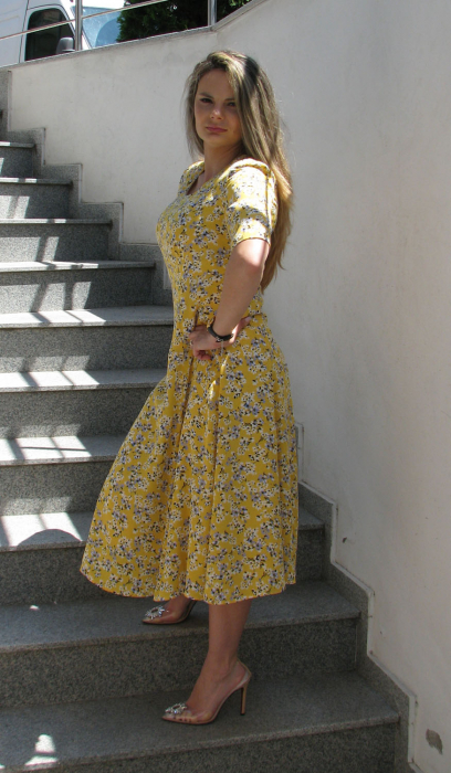 Rochie Olguta, galben cu flori [2]