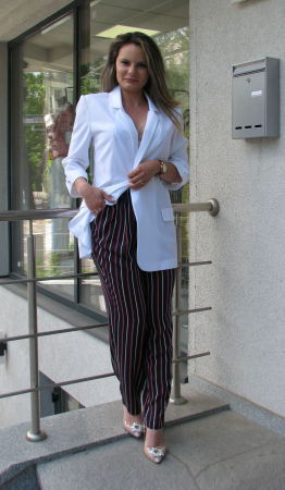Pantalon Veronica, negru cu dungi [0]