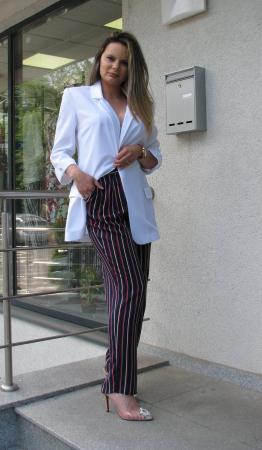 Pantalon Veronica, negru cu dungi [1]