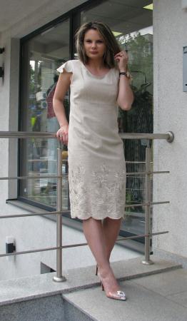 Rochie Iulia, broderie ton in ton [0]